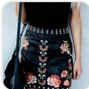 Dresses & Skirts - Walk This Way Studded Embroidered Mini Skirt🖤